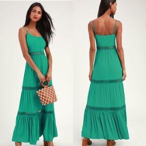 BB Dakota •. Green Crochet Maxi Dress